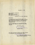 Autographs:Others, 1948 Ralph DePalma Signed Typed Letter. Letter dating from 1948 has the perfect signature of motor sports champion Ralph De...
