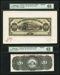 Canadian Currency: , Toronto, ON- The Metropolitan Bank $20 Nov. 5, 1902 Ch. #485-10-16FP/BP Face and Back Proofs. ...