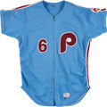Baseball Collectibles:Uniforms, 1984 Bo Diaz Game Worn Philadelphia Phillies Jersey....