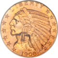 Indian Half Eagles, 1908 $5 MS67 NGC....