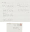 Books:Literature 1900-up, Cormac McCarthy. Autograph Letter Signed. [El Paso, TX, 8 Feb1988]. One and one-half octavo pages on two ruled octavo leave...