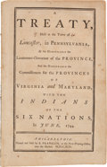Books:Americana & American History, [Benjamin Franklin, printer]. A Treaty, Held at the Town ofLancaster, In Pennsylvania, by the Honourable the Lieutenant...