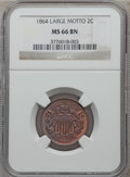 Two Cent Pieces, 1864 2C Large Motto MS66 Brown NGC....