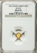 California Fractional Gold, 1872 25C Liberty Round 25 Cents, BG-814, High R.5, MS66 ProoflikeNGC....