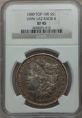 Morgan Dollars, 1880 $1 XF45 NGC. Knob 8, Vam-1A2, Top-100. NGC Census: (39/11723). PCGS Population (33/11131). Mintage: 12,601,355. Numism...
