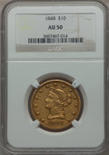 Liberty Eagles: , 1848 $10 AU50 NGC. NGC Census: (31/186). PCGS Population (21/48).Mintage: 145,484. Numismedia Wsl. Price for problem free ...