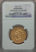 Liberty Eagles: , 1847 $10 -- Improperly Cleaned -- NGC Details. AU. NGC Census:(119/509). PCGS Population (80/139). Mintage: 862,258. Numis...