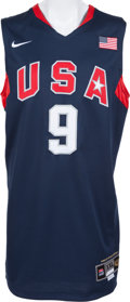 Basketball Collectibles:Uniforms, 2008 Dwyane Wade Game Worn, Signed United States Olympic Jersey....
