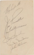 Autographs:Others, 1950's Sports Legends Signed Page with Robinson, Williams,Snead....