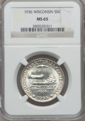 Commemorative Silver: , 1936 50C Wisconsin MS65 NGC. NGC Census: (1323/1613). PCGSPopulation (2226/1987). Mintage: 25,015. Numismedia Wsl. Price f...