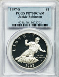 Modern Issues: , 1997-S $1 Jackie Robinson Silver Dollar PR70 Deep Cameo PCGS. PCGSPopulation (89). NGC Census: (58). Mintage: 110,495. Num...