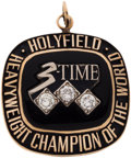 Boxing Collectibles:Memorabilia, 1996 Evander Holyfield Three-Time Heavyweight Champion Pendant....