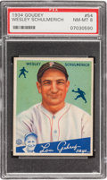 Baseball Cards:Singles (1930-1939), 1934 Goudey Wesley Schulmerich #54 PSA NM-MT 8 - Only Two Higher. ...