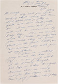 Football Collectibles:Others, Curly Lambeau Handwritten Signed Letter - February 12, 1965 (Green Bay Packers Famed Coach)....