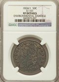 Bust Half Dollars, 1824/1 50C Overdate -- Environmental Damage -- NGC Details. XF.O-101. NGC Census: (5/65). PCGS Population (14/94). Numism...