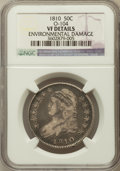 Bust Half Dollars, 1810 50C -- Environmental Damage -- NGC Details. VF. O-104. NGCCensus: (10/641). PCGS Population (29/674). Mintage: 1,27...