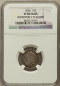 Bust Dimes, 1836 10C -- Improperly Cleaned -- NGC Details. VF. NGC Census:(1/208). PCGS Population (5/255). Mintage: 1,190,000. Nu...