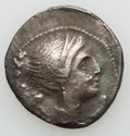 Ancients:Greek, Ancients: BRUTTIUM. The Bretti. Ca. 216-214 BC. AR drachm (4.62gm)....