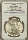 Peace Dollars, 1934-D $1 -- Obverse Improperly Cleaned -- NGC Details. UNC. NGCCensus: (38/3467). PCGS Population (59/4466). Mintage: 1,5...