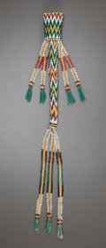 American Indian Art:Beadwork and Quillwork, AN APACHE BEADED HIDE AWL CASE. c. 1880...