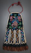 American Indian Art:Beadwork and Quillwork, A CREE BEADED CLOTH OCTOPUS BAG. c. 1870...