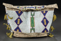 American Indian Art:Beadwork and Quillwork, A SIOUX BEADED HIDE TIPI BAG. c. 1885...