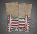American Indian Art:Beadwork and Quillwork, A PAIR OF SIOUX WOMAN'S BEADED HIDE LEGGINGS. c. 1890...