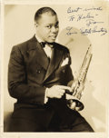 "Music Memorabilia:Autographs and Signed Items, Louis Armstrong Signed Photo. A vintage b&w 8"" x 10"" photo ofthe Jazz trumpeter, inscribed and signed ""Louis 'Satch' Armstr...(Total: 1 Item)"