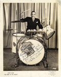 "Music Memorabilia:Autographs and Signed Items, Chick Webb Signed Photo. A vintage b&w 8"" x 10"" photo of the ""King of the Drums,"" inscribed and signed by him in blue ink. I... (Total: 1 Item)"