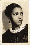 "Music Memorabilia:Autographs and Signed Items, Ethel Waters Signed Photo. A vintage b&w 5"" x 8"" photo of the Blues vocalist, inscribed and signed by her in blue ink. In Fi... (Total: 1 Item)"