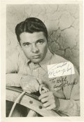"Movie/TV Memorabilia:Autographs and Signed Items, Audie Murphy Signed Photo. A b&w 5"" x 7"" promo photo of the warhero-turned-actor in To Hell and Back (1955), signed by ...(Total: 1 Item)"