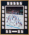 """Hockey Collectibles:Others, 1980 United State Hockey """"Miracle on Ice"""" Team Signed Oversized Lithograph, With Herb Brooks. ..."""