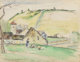CAMILLE PISSARRO (French, 1830-1903) La ferme à Châtillon-sur-Seine, 1884 Watercolor, wash, and charcoal on...