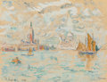 , PAUL SIGNAC (French, 1863-1935). Venise, 1908. Watercolor, gouache, and pencil on wove paper laid on card. 7-1/2 x 9-7/8...