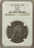 Bust Half Dollars, 1827 50C Square Base 2 XF45 NGC. O-120a. NGC Census: (202/1636).PCGS Population (258/1291). Mintage: 5,493,400. Numismedi...