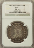 Bust Half Dollars, 1807 50C Large Stars, 50 Over 20, Capped VG10 NGC. O-112. NGCCensus: (9/1256). PCGS Population (6/395). Mintage: 750,500....