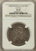 Bust Half Dollars, 1828 50C Square Base 2, Small 8, Large Letters XF40 NGC. O-117a.NGC Census: (19/191). PCGS Population (75/417)....