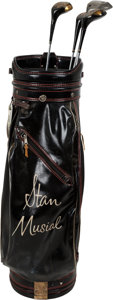 Baseball Collectibles:Others, 1980's Stan Musial Game Used Golf Bag & Clubs. ...