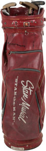 Baseball Collectibles:Others, 1970's Stan Musial Match Used Golf Bag with Six Clubs....