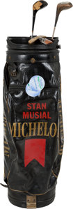 Baseball Collectibles:Others, 1990's Stan Musial Match Used Golf Bag & Clubs....