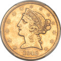 Liberty Half Eagles, 1842 $5 Small Letters AU55 PCGS. CAC....