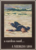 "Movie Posters:War, World War II Propaganda (U.S. Government Printing Office, 1943).OWI Poster No. 36 (28.5"" X 40"") ""A Careless Word...A Needle..."