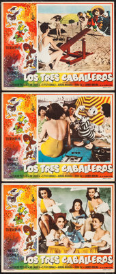 """The Three Caballeros (Columbia, R-1950s). Mexican Lobby Cards (3) (11"""" X 14""""). Animation"""