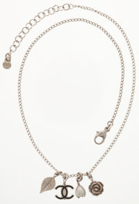 Chanel Silver & Black Enamel CC Necklace with Floral Charms