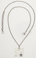 Luxury Accessories:Accessories, Chanel Silver Necklace with Clear Square Lucite, Crystal, and CCLogo Pendant. ...