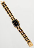 Luxury Accessories:Accessories, Chanel Premiere Ladies Watch with Gold & Leather Chain StrapSize M. ...