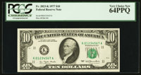 Up Ladder Serial Number K01234567A Fr. 2023-K $10 1977 Federal Reserve Note. PCGS Very Choice New 64PPQ