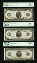 Fr. 860 $5 1914 Federal Reserve Notes Three Consecutive Examples PCGS Choice About New 58