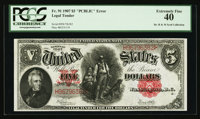 "Fr. 91 $5 1907 ""PCBLIC Error"" Legal Tender PCGS Extremely Fine 40"