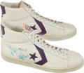 Basketball Collectibles:Others, Early 1980's Magic Johnson Game Worn, Dual Signed Shoes - With LOAfrom Dr. J Julius Erving!...